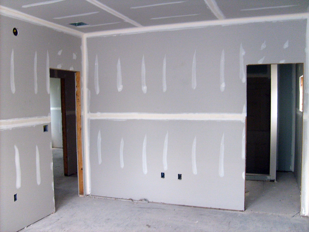 drywall in the middle of construction